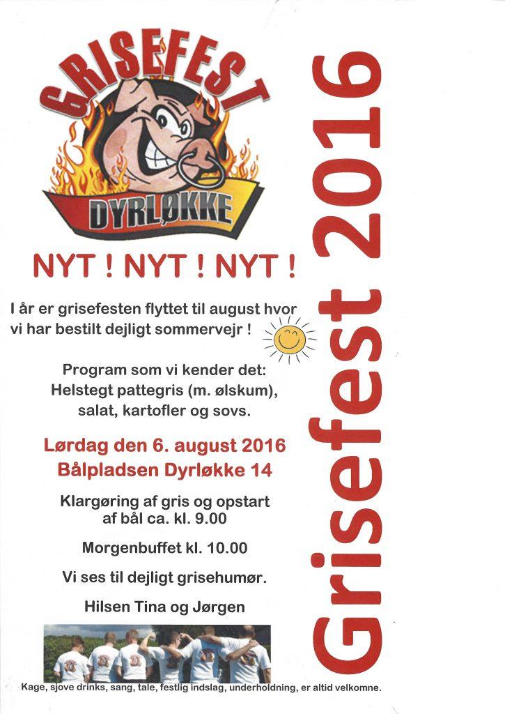 Indbydelse til Grisefest 2016